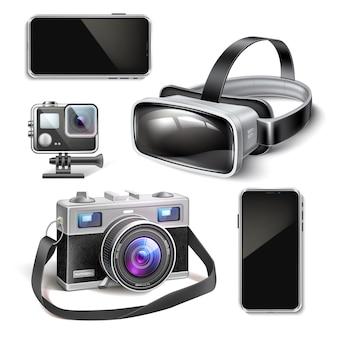 Fone de ouvido de realidade virtual, ação de drone de ar e ilustração de câmera vintage
