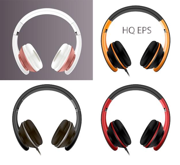 Fone de ouvido digital moderno realista com fio sem fio.