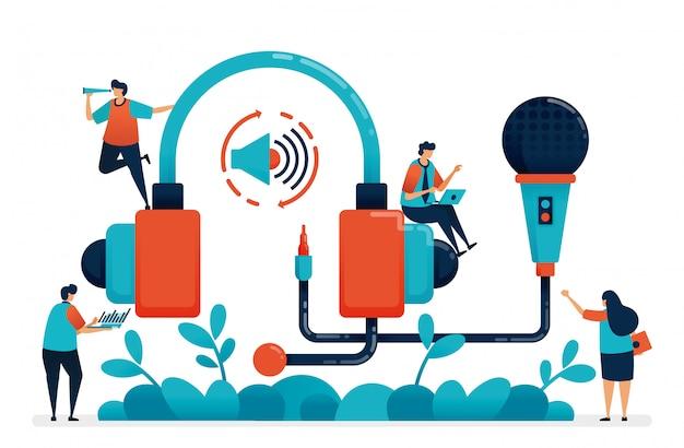 Fone de ouvido e microfone para gravação de rádio, podcast de produção multimídia.