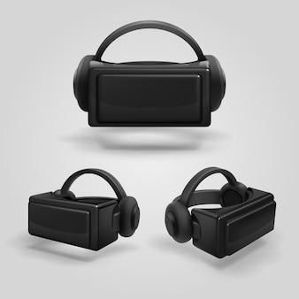 Fone de ouvido e óculos de realidade virtual estereoscópica.