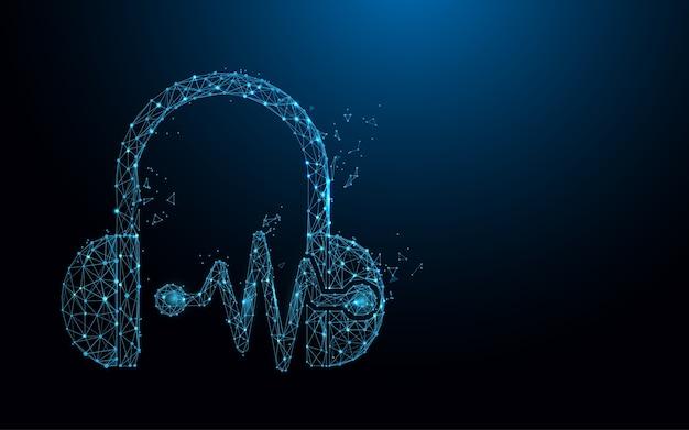 Fone de ouvido e ondas sonoras formam linhas