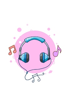 Fone de ouvido para ilustração de desenho animado de ícone de música