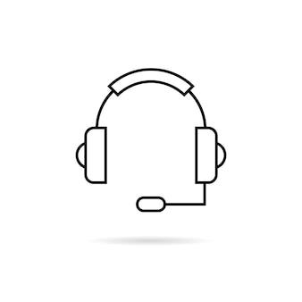 Fone de ouvido preto de linha fina com sombra. conceito de ask, ui, tech, callback, crm, faq, feedback, e-commerce. isolado no fundo branco. ilustração em vetor design moderno logotipo tendência estilo simples