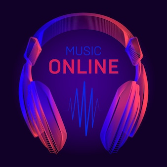 Fones de ouvido acústicos em estrutura de arame e título de música on-line com contorno de ondas de rádio em neon. ilustração com fones de ouvido portáteis de contorno ou dispositivo de fone de ouvido dj no estilo de arte linha sobre fundo azul escuro