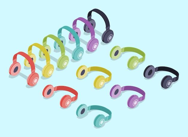 Fones de ouvido coloridos isométricos