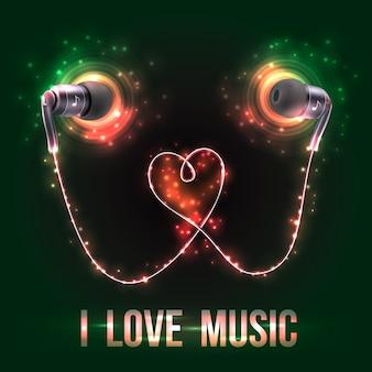 Fones de ouvido com eu amo letras de música