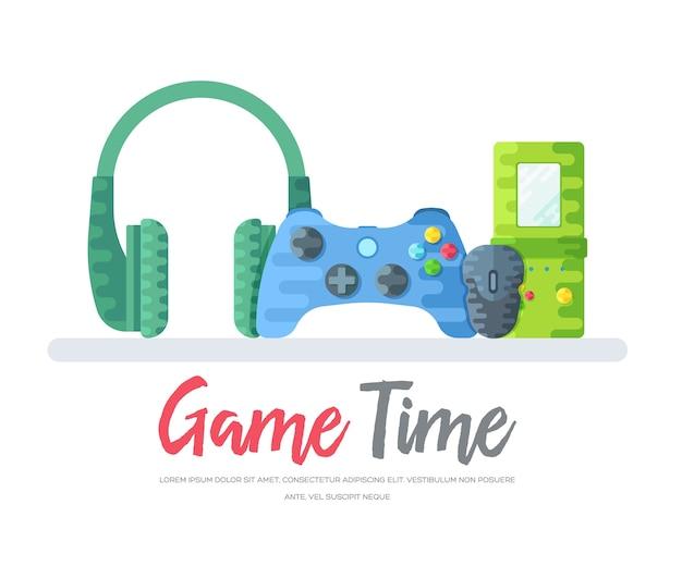 Fones de ouvido com gamepad e mouse com brinquedo tetris sobre palavras de tempo de jogo