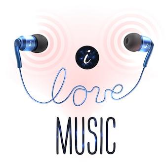 Fones de ouvido com letras de amor
