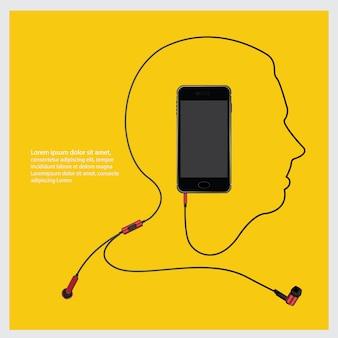 Fones de ouvido conceituais com ilustração vetorial de telefone