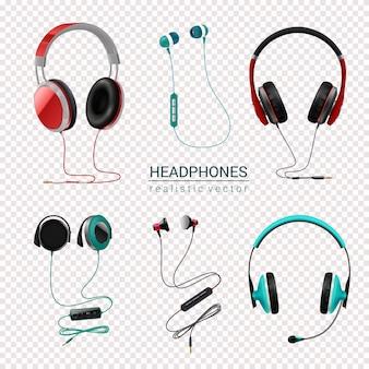 Fones de ouvido conjunto realista transparente