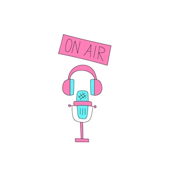 Fones de ouvido de microfone um sinal no estilo desenhado à mão em rosa e azul