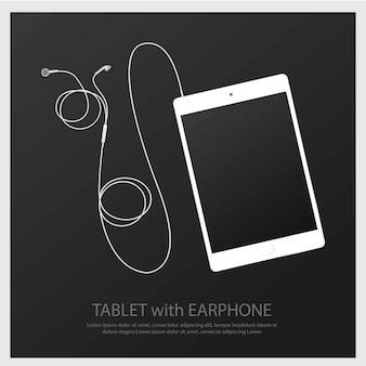 Fones de ouvido de música com ilustração de tablet