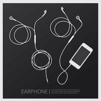 Fones de ouvido de música com ilustração vetorial de telefone
