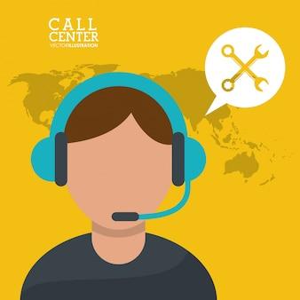 Fones de ouvido do microfone call center man