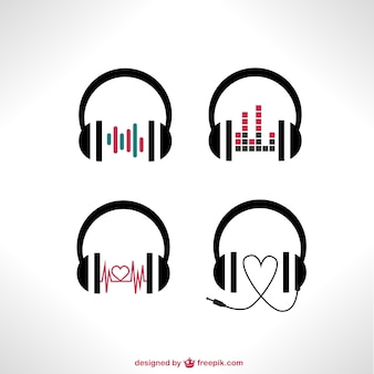 Fones de ouvido do vetor ajustados