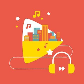 Fones de ouvido e cidade