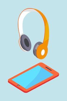Fones de ouvido e smartphone equipamento estéreo moderno.