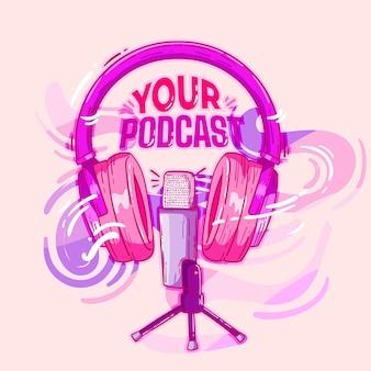 Fones de ouvido e um microfone ilustrado para uma promoção de podcast