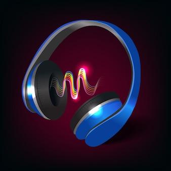 Fones de ouvido escuros e azuis