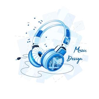 Fones de ouvido estéreo elegantes com um padrão geométrico moderno.