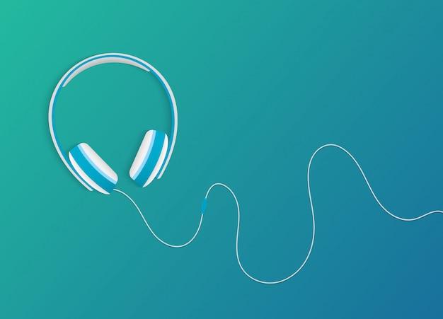 Fones de ouvido estilo moderno em fundo gradiente na moda.