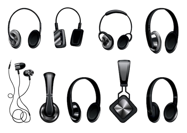 Fones de ouvido. fones de ouvido de música preta ou fone de ouvido para jogos. gadget de áudio com alto-falante, fones de ouvido móveis sem fio isolaram a imagem do vetor 3d. conjunto de acessórios de estúdio de tecnologia.