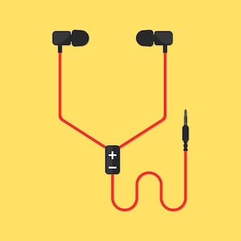 Fones de ouvido isolados em fundo amarelo. conceito de itens meloman, fone de ouvido, protetores de ouvido, multimídia, estilo de vida moderno, melodia, som surround, registro. ilustração em vetor design moderno tendência estilo simples