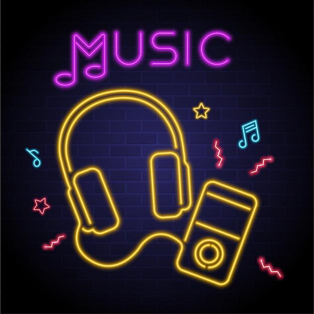 Fones de ouvido musicais e elementos musicais luz de néon brilhante