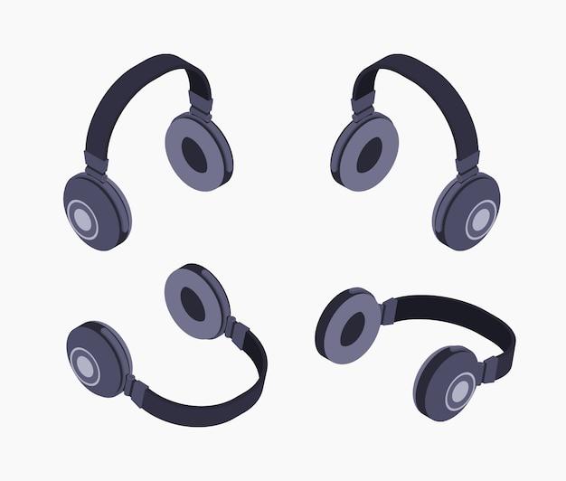 Fones de ouvido pretos isométricos