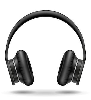 Fones de ouvido pretos realistas em branco