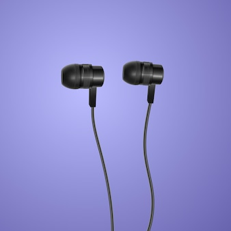Fones de ouvido pretos realistas sobre fundo colorido,