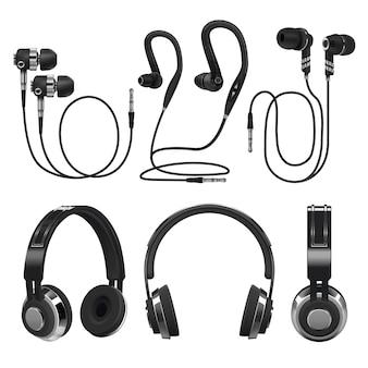 Fones de ouvido realistas, fones de ouvido sem fio e com fio de música. ilustração em vetor 3d isolada