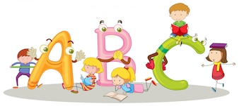 Font ABC e crianças felizes