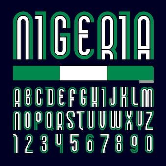 Font nigeria. alfabeto brilhante moderno, letras coloridas em um fundo preto.