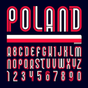 Font poland. alfabeto brilhante moderno, letras coloridas em um fundo preto.