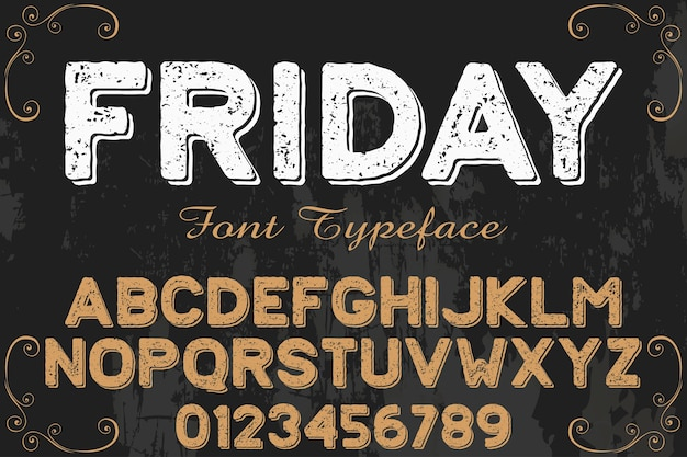 Font vintage estilo gráfico alfabético sexta-feira