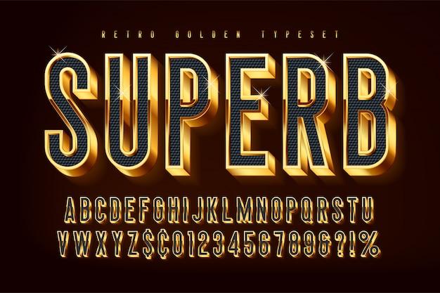 Fonte 3d brilhante dourada, letras e números de ouro