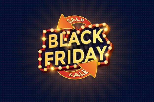 Fonte 3d com lâmpada para modelo de banner de venda de sexta-feira negra