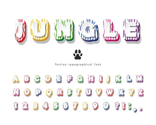 Fonte 3d da selva. alfabeto colorido de pele de zebra.