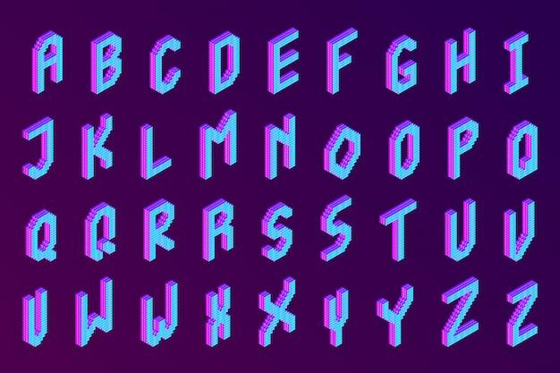 Fonte 3d de pixel isométrico colorido em negrito