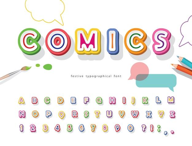 Fonte 3d de quadrinhos. alfabeto colorido para crianças.