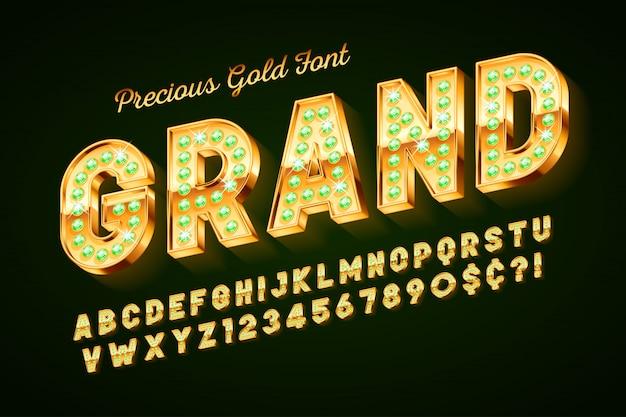 Fonte 3d dourada com gemas, letras e números de ouro