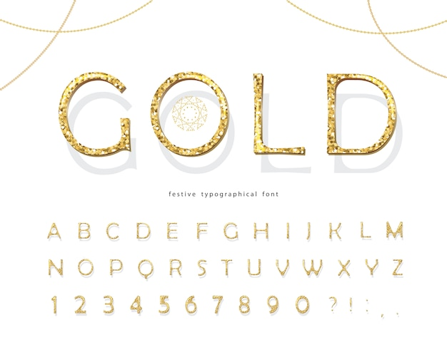 Fonte 3d glitter dourados.