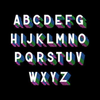Fonte 3d isométrica com sombra de listras coloridas
