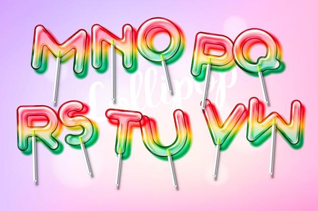 Fonte alfabeto colorido de pirulito doce doce com transparência e sombras