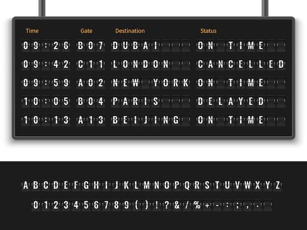 Fonte alfabeto painel de informações chegada partida exibição horário destino voo terminal