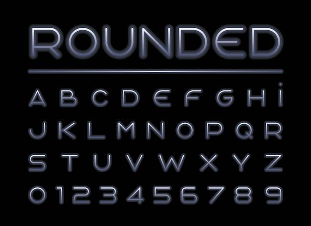 Fonte arredondada estilizada e alfabeto