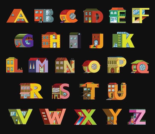 Fonte artesanal com ilustração estilo simples. casa alfabética em um fundo preto