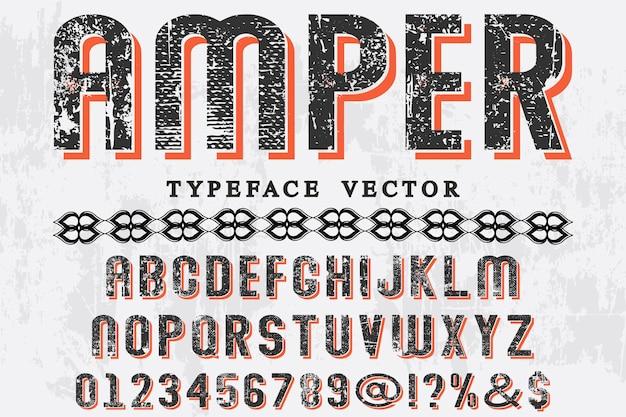Fonte artesanal etiqueta design amper