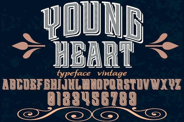 Fonte artesanal vector alfabeto design jovem coração